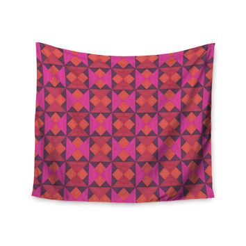 """Empire Ruhl """"A Quilt Pattern"""" Pink Red Wall Tapestry"""