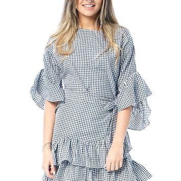 Checkered Wrap Tie Mini Dress