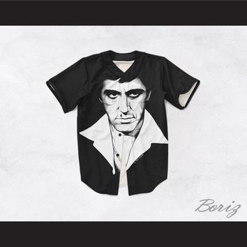 Tony Montana Scarface 20 Black and White Portrait Baseball Jersey