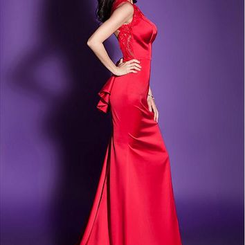 [109.99] Amazing Satin Jewel Neckline Floor-length Mermaid Formal Dresses With Lace Appliques - dressilyme.com