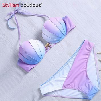 Mermaid Shell Bra Push Up Two-Piece Suit Swimwear Gradient Color Beachwear Sexy Bikinis Set Swimsuit Biquini Maillot De Bain