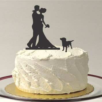 WITH DOG Wedding Cake Topper Silhouette Wedding Cake Topper Bride + Groom + Dog Pet Family of 3 Cake Topper Bride Groom Dog Cake Topper