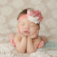 Coral and Ivory rosette and chiffon headband, coral headbands, newborn headbands, flower headbands, vintage headbands, photography prop