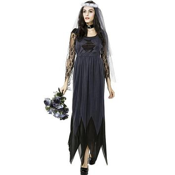 Lady Silk Gauze Ghost Bride Dresses For Halloween