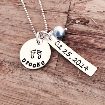 New Baby Charm Necklace, Personalized Sterling Silver Engraved Name Baby Foot Print Pendant, Birth Date, Birthstone, Mom Mommy Mother Gift