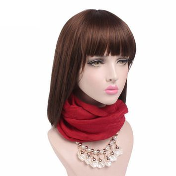 Hot Sale Fashion Beads Women Pendant Scarves Necklace for Women Voile Wrap Double Loop Wrap Solid Scarf  6 Colors