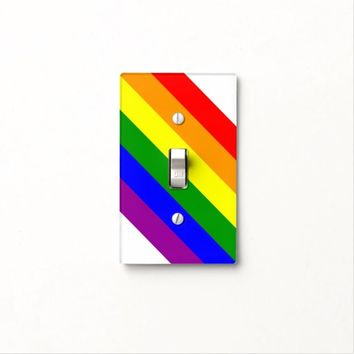 Gay Pride Colors Diagonal Light Switch Cover