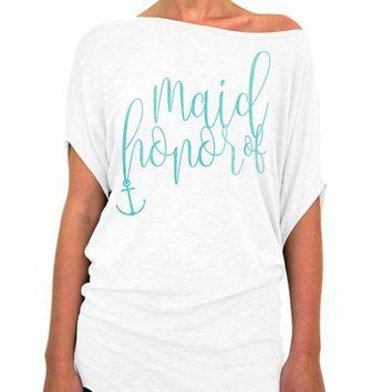 Maid of Honor Shirt, Nautical Script Collection, Beach Wedding, Nautical Theme, Wedding shower, Off the shoulder, Slouchy tee, Bridal Party, Bachelorette Party Gift