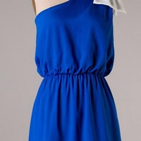 Top it off with a Bow One Shouldered Dress - Royal Blue and Ivory