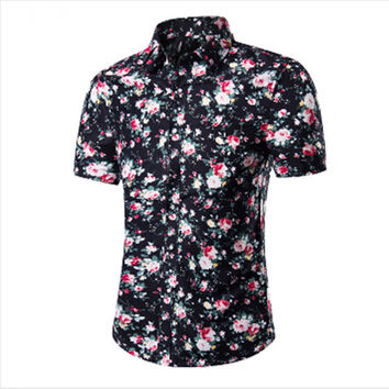 Fashion Mens Short Sleeve Hawaiian Shirt Summer Casual Floral Shirts For Men Asian Size M-4XL 10 Color