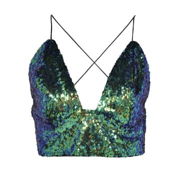 Neve Strappy Plunge Sequin Bralet