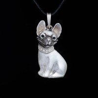 French Bulldog Pendant, sterling silver, handmade ... dog pendant