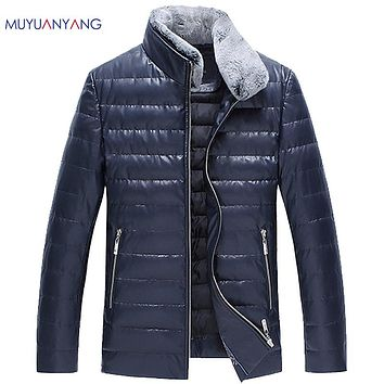 Autumn Winter Men's Duck Down Jackets Rabbit Fur Collar Male Leather Down Jackets Fashion Slim Warm Jackets and Coat OverCoats