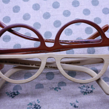 TAKEMOTO bamboo MOON reading glasses prescription eyeglasses  customize