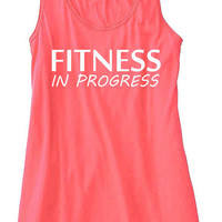 Fitness In Progress Train Gym Tank Top Flowy Racerback Workout Custom Colors You Choose Size & Colors