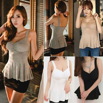 Tank Top Sexy Women's Strap Slim Cotton Low-cut Clubwear White Casual  A_L = 1658554180