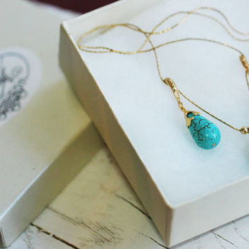 Necklace with blue turquoise magnesite 24K gold plated pendant on 14K goldfilled chain