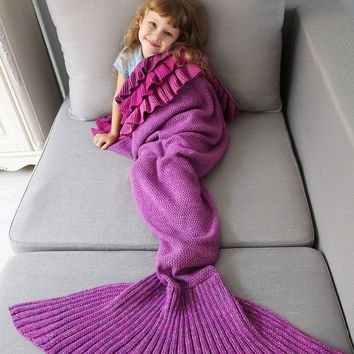 Bedroom Multilayered Ruffles Knit Mermaid Blanket Throw For Kids