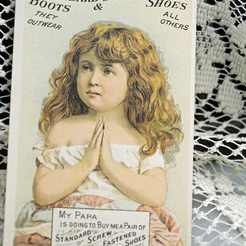 1800s Trade Card, Beautiful Little Girl for Nashua NH Boots, Shoes, Slippers and Rubbers, New Hampshire Scrapbooking, Collage, Crafting #175