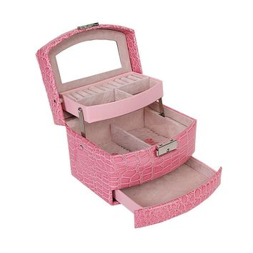 PU Leather Crocodile Pattern 3-Tier Mirror Jewelry Box Organizer Cosmetic Makeup Bag Case Lockable Earings Necklaces Bracelets Storage Holder With Multiple Compartments