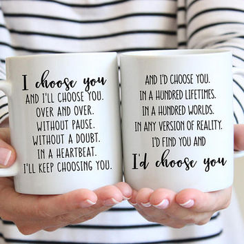 I'd Choose You In A Hundred Lifetimes Coffee Mug Set, Ceramic Mug, 11 oz or 15 oz mug, Valentines Day, Anniversary Gift, Husband Wife Gift