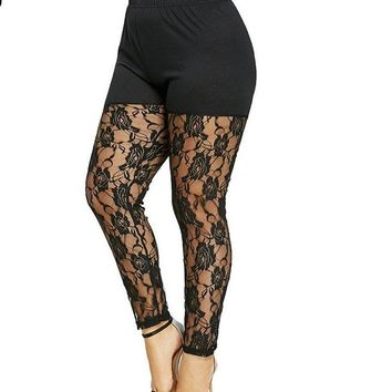 Plus Size High Waist Floral Lace Sheer Skinny See Through Mesh Leggings