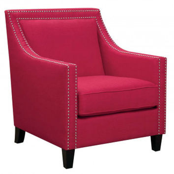 Red Arm Chair with Nail Head Details   Erica Berry Accent Chair   American Freight