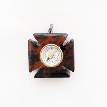 Antique Victorian Cross Square Bloodstone Compass Fob
