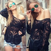2015 New Women Plus Size Lace Long Sleeve Sexy See-through Blouse Tops = 1830088132