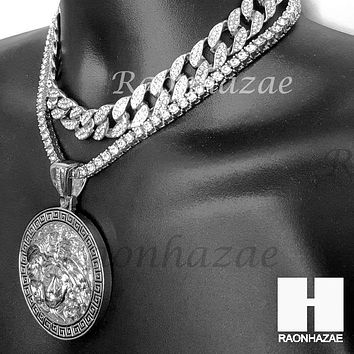 Hip Hop Iced Out Premium Round Medusa Miami Cuban Choker Tennis Chain Necklace S