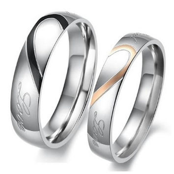 "1PCS Mens OR Womens Hearte 316L Stainless Steel Promise Ring ""Real Love"" Couples Wedding Bands From Milkle Gift"