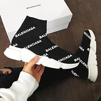 Balenciaga Sneakers Woman Men Sneakers Breathable Kint Socks Running Shoes print more White
