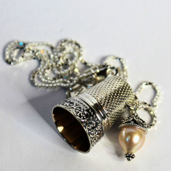 Antique Thimble and Acorn Charm Peter Pan and Wendy Kisses Necklace