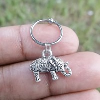 316L Surgical stainless steel captive ring Helix, cartilage, earring with elephant charm