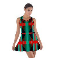 Vertical stripes and other shapes Cotton Racerback Dress