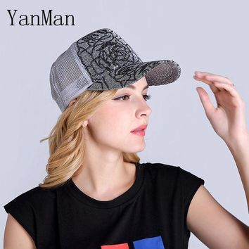 Yanman 2017 Women Baseball Cap Fashion Shining Powder Girl Women Mesh Summer Hat Nets Ventilated Snapback Caps Mesh Sun Hats