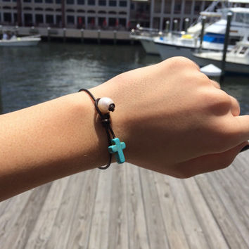 Brown Leather Fresh Water Pearl and Cross Bracelet