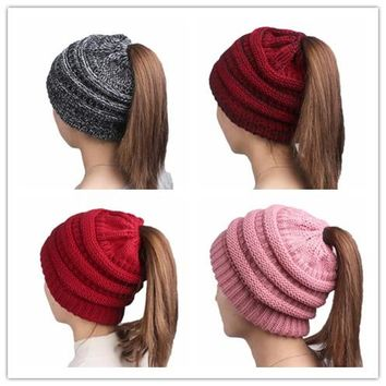 Fashion Women Warm Crochet Soft Knitted Stretch Ponytail Hat Cap Beanie
