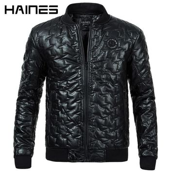 Men Faux Leather Jacket - Fashion Stand Collar Zipper Leather Jacket