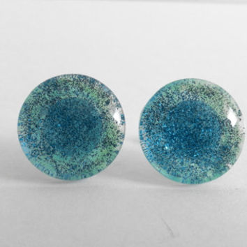 Sparkly Turquoise with Dark Blue Glitter Round Glass Cabochon Stud Earrings