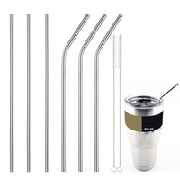 Straws Stainless Steel Reusable 10.5 Inch Extra Long Drinking Straws Set 3 Straight Straws  3 Bent Straws 2 Cleaning Brushes