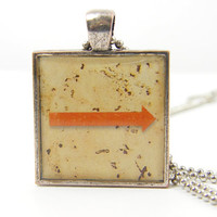 Arrow Necklace, Directional Pendant Mens Unisex Jewelry Red Tan Silver Grunge Distressed Rusted Metal Charm