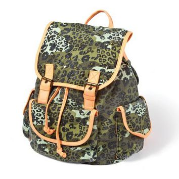 Studded Camo Backpack with Neon Trim  | Claire's