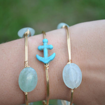 Teal Anchor Bead Wire Bracelet ~  Wire wrapped beads, stackable, gold or silver