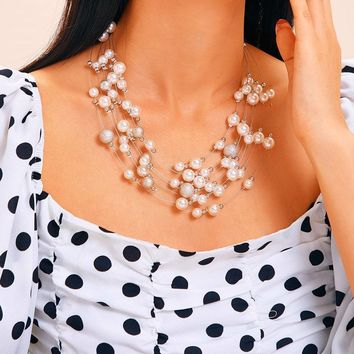 Multi-Strand Faux Pearl Statement Necklace 1Pc