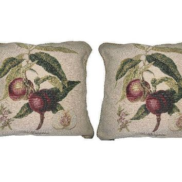 DaDa Bedding Set of Two Nectarine Fruits Cushion Covers w/ Pillow Inserts - 2-PCS - 18""