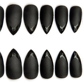 Matte Black w/ Glossy French Tips Pointy Fake Nails, Black subtle nail art design, 20 Press on stiletto nails