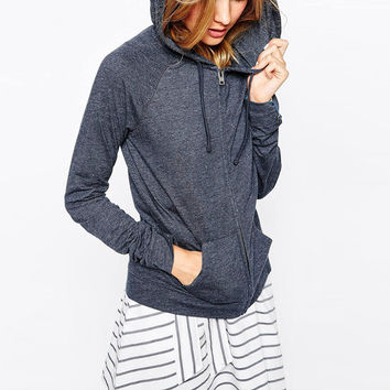 Navy Blue  Zipped Front Hooded Sweatshirt With Pocket