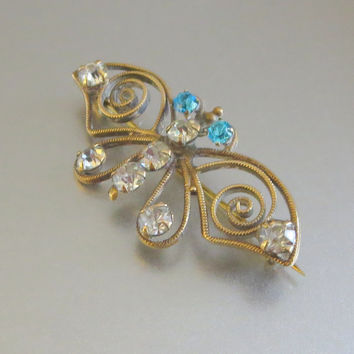 "Edwardian Brass Filigree Butterfly Brooch, Antique Butterfly Pin, Clear & Aquamarine Paste Rhinestones, Simple Design, 1 3/4"" x 7/8"""