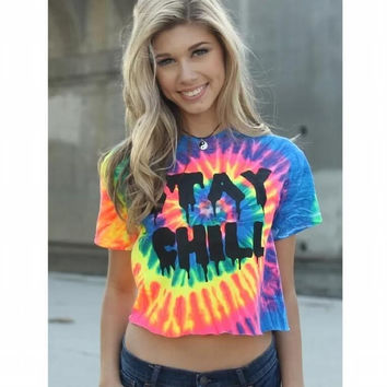 Hot Sale Summer Colorful Crop Tops T-shirts [6439082820]